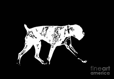 Boxer Dog Tee White Ink Art Print by Edward Fielding