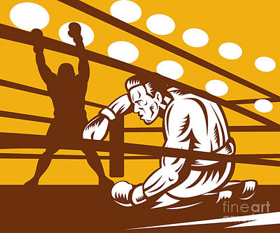 Knockout Digital Art - Boxer Down On His Hunches by Aloysius Patrimonio
