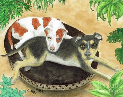 Cornstalks Painting -  Boxer Hound Cross Dogs Plants Animals Cathy Peek by Cathy Peek