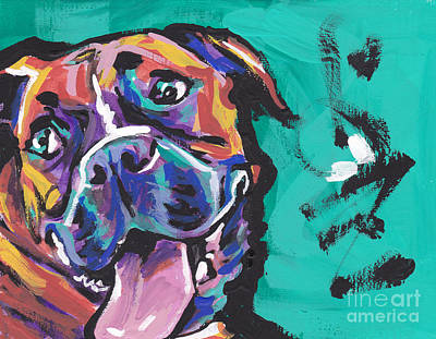 Dog Portrait Painting - Boxer Luv by Lea S