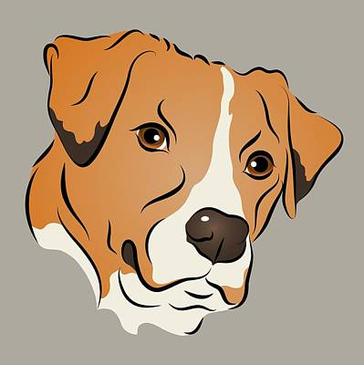Digital Art - Boxer Mix Dog Graphic Portrait by MM Anderson