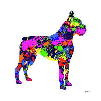 Boxer Dog Digital Art - Boxer Paint Splatter by Gregory Murray
