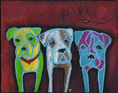 Dog Rescue Mixed Media - Boxer Pals by Allison Crow