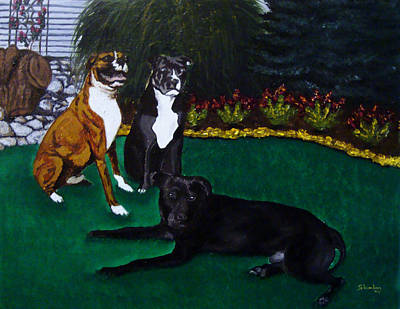 Boxer Pitbull Mix Art Print by Amanda Schambon