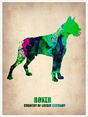 Boxer Dog Painting - Boxer Poster by Naxart Studio