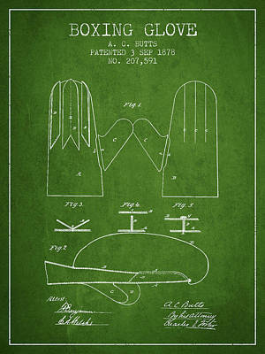 Gloves Drawing - Boxing Glove Patent From 1878 - Green by Aged Pixel