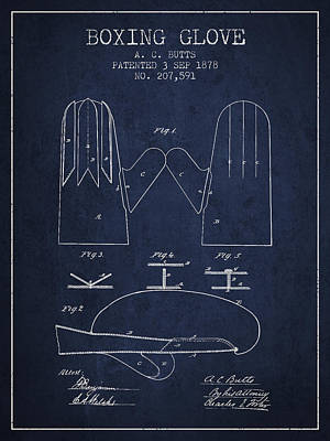 Gloves Drawing - Boxing Glove Patent From 1878 - Navy Blue by Aged Pixel