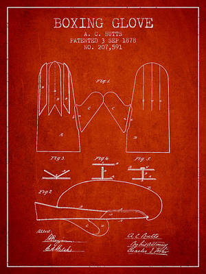 Gloves Drawing - Boxing Glove Patent From 1878 - Red by Aged Pixel