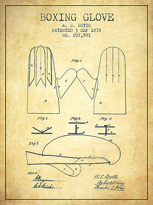 Gloves Drawing - Boxing Glove Patent From 1878 - Vintage by Aged Pixel