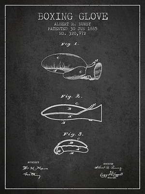 Gloves Drawing - Boxing Glove Patent From 1885 - Charcoal by Aged Pixel