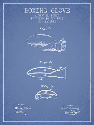 Gloves Drawing - Boxing Glove Patent From 1885 - Light Blue by Aged Pixel