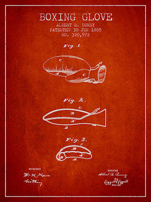 Gloves Drawing - Boxing Glove Patent From 1885 - Red by Aged Pixel