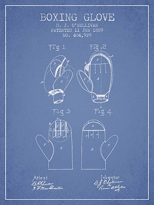 Gloves Drawing - Boxing Glove Patent From 1889 - Light Blue by Aged Pixel