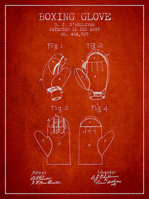 Gloves Drawing - Boxing Glove Patent From 1889 - Red by Aged Pixel