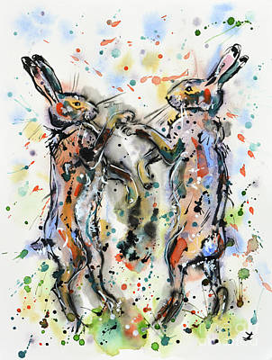 March Hare Painting - Boxing Hares by Zaira Dzhaubaeva