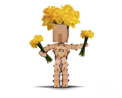 Mail Box Photograph - Boxman Holding Bunches Of Daffodils by Simon Bratt Photography LRPS