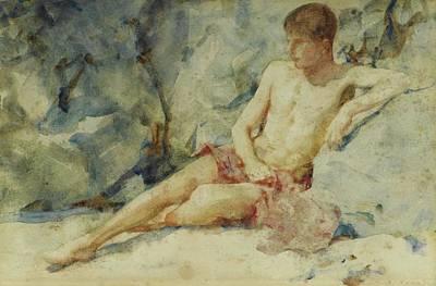 Painting - Boy Against A Rock by Henry Scott Tuke