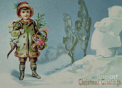 Small Basket Drawing - Boy And A Snowman, Victorian Christmas Card by English School