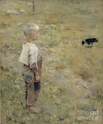 Painting - Boy And Crow by Celestial Images