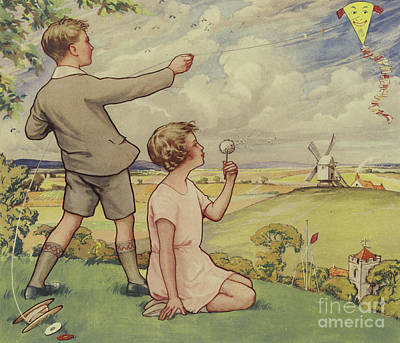 Child Painting - Boy And Girl Flying A Kite by English School