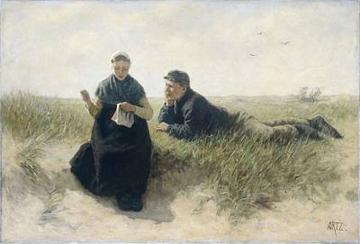 Winter Animals Rights Managed Images - Boy and girl in the dune  David Adolph Constant Artz 1870  . 1890 Royalty-Free Image by David Adolph Constant Artz