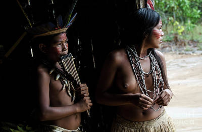 Photograph - Boy And Girl Of The Amazon by Bob Christopher