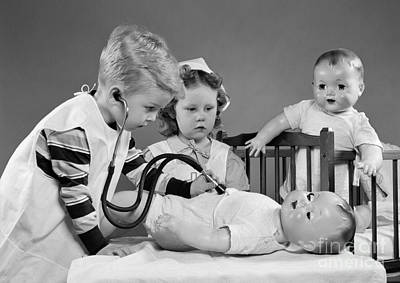 Play Pretend Photograph - Boy And Girl Playing Doctor, C.1950s by H. Armstrong Roberts/ClassicStock