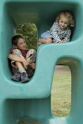 Children Only Photograph - Boy And Girl Playing In Plastic Cube by Sami Sarkis