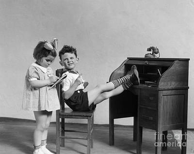 Dictate Photograph - Boy And Girl Playing Office, C.1930s by H. Armstrong Roberts/ClassicStock