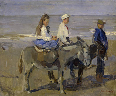 Boy And Girl Riding Donkeys Art Print by Isaac Israels