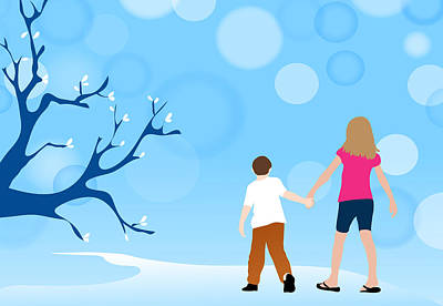 Drawing - Boy And Girl Walking In Fantasy Blue Nature Scene by Serena King