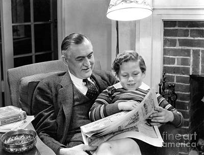 Funnies Photograph - Boy And Grandfather Reading Funnies by H. Armstrong Roberts/ClassicStock