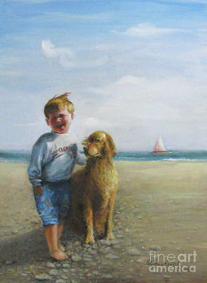 Boy And His Dog At The Beach Art Print
