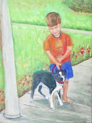Painting - Boy And His Dog by Bonnie Wilber