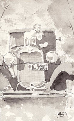 Boy And His Dog On An Old Car Art Print by Ken Powers