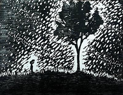 Rain Drawing - Boy And Tree by Austin Howlett