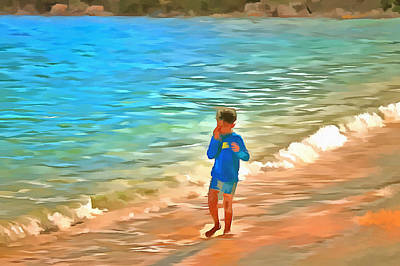 Body Language Digital Art - Boy At Beach by Ashish Agarwal