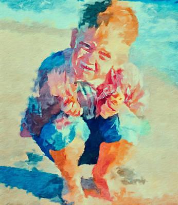 Abstract Beach Landscape Digital Art - Boy At Sea by Yury Malkov