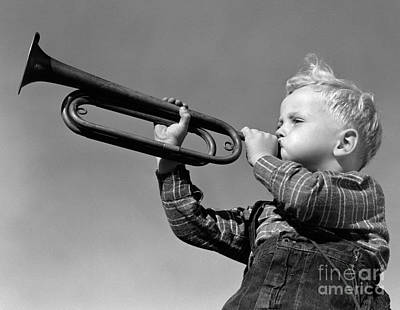 Mess Photograph - Boy Blowing Bugle, C.1940s by H. Armstrong Roberts/ClassicStock