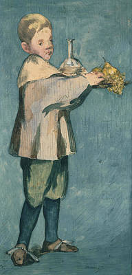 Tray Painting - Boy Carrying A Tray by Edouard Manet