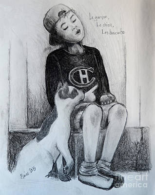 Canadiens Drawing - Boy Dog Cookies by Elaine Berger