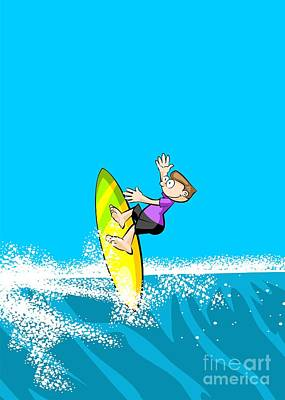 Design Digital Art - Boy Doing Extreme Surfing Over Gigantic Waves by Daniel Ghioldi
