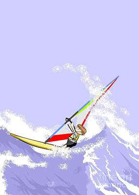 Windsurfing Digital Art - Boy Doing Extreme Windsurfing In The Middle Of A Stormy Sea by Daniel Ghioldi