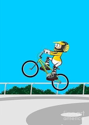 Bike Digital Art -  Boy Doing Pirouettes With His Bmx Bicycle In The Skating Park by Daniel Ghioldi
