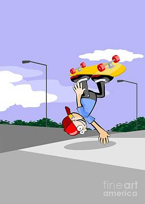 Skateboarding Digital Art - Boy Doing Pirouettes With His Yellow Skateboard Standing On Hands In Skating Park by Daniel Ghioldi