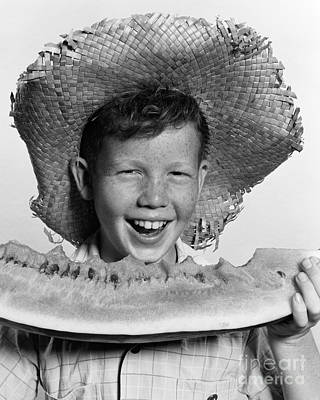 Watermelon Photograph - Boy Eating Watermelon, C.1940-50s by H. Armstrong Roberts/ClassicStock