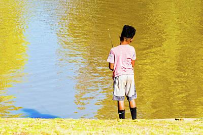 Photograph - Boy Fishing 2 by Jim Thompson