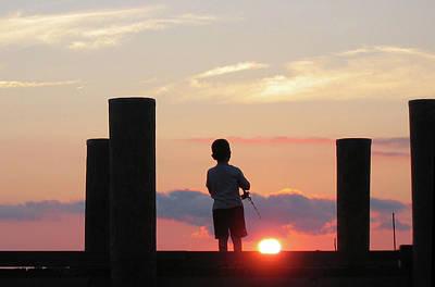 Mountain Landscape - Boy Fishing at Sunset by Joseph Missett