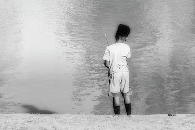 Photograph - Boy Fishing by Jim Thompson