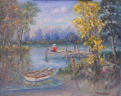 Painting - Boy Fishing On Dock And Boat On Lake by Amber Palomares